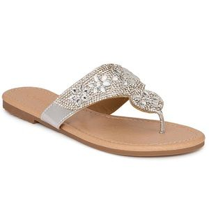 NEW Olivia Miller silver Rhinestone sandals size 8